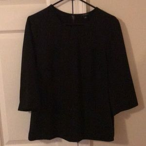 Ann Taylor Black 3/4 Length Sleeve Top